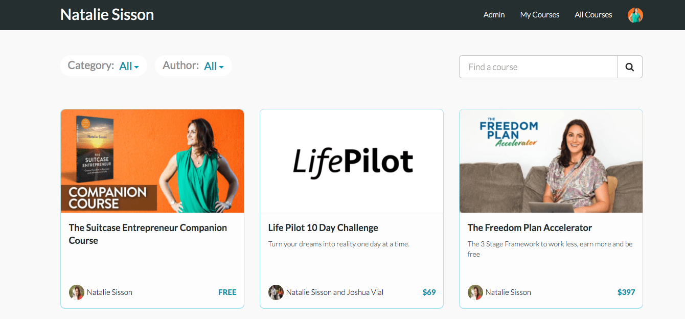 My Teachable online course store front