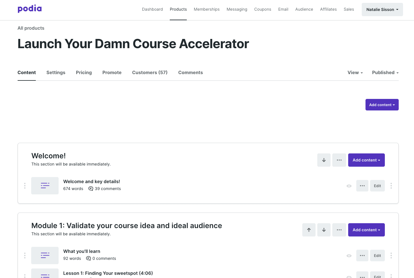Setting up an online course on Podia